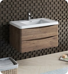"Fresca FCB9036RW-I Tuscany 36"" Rosewood Wall Hung Modern Bathroom Cabinet with Integrated Sink"