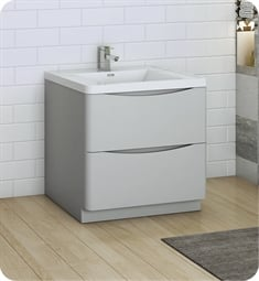 "Fresca FCB9132GRG-I Tuscany 32"" Glossy Gray Free Standing Modern Bathroom Cabinet with Integrated Sink"