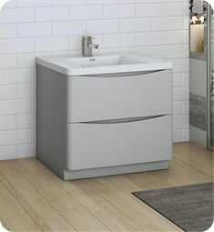 "Fresca FCB9136GRG-I Tuscany 36"" Glossy Gray Free Standing Modern Bathroom Cabinet with Integrated Sink"