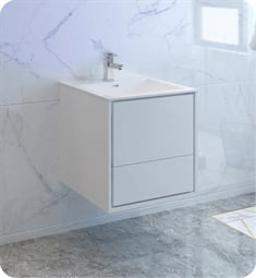 "Fresca FCB9224WH-I Catania 24"" Glossy White Wall Hung Modern Bathroom Cabinet with Integrated Sink"