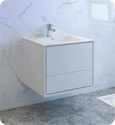 "Fresca FCB9230WH-I Catania 30"" Glossy White Wall Hung Modern Bathroom Cabinet with Integrated Sink"