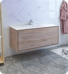 "Fresca FCB9260RNW-S-I Catania 60"" Rustic Natural Wood Wall Hung Modern Bathroom Cabinet with Integrated Single Sink"