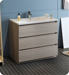 "Fresca FCB9342MGO-I Lazzaro 42"" Gray Wood Free Standing Modern Bathroom Cabinet with Integrated Sink"