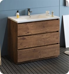 "Fresca FCB9342RW-I Lazzaro 42"" Rosewood Free Standing Modern Bathroom Cabinet with Integrated Sink"