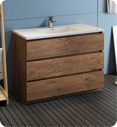 "Fresca FCB9348RW-I Lazzaro 48"" Rosewood Free Standing Modern Bathroom Cabinet with Integrated Sink"