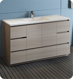 "Fresca FCB9360MGO-S-I Lazzaro 60"" Gray Wood Free Standing Modern Bathroom Cabinet with Integrated Single Sink"