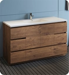 "Fresca FCB9360RW-S-I Lazzaro 60"" Rosewood Free Standing Modern Bathroom Cabinet with Integrated Single Sink"