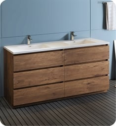 "Fresca FCB93-3636RW-D-I Lazzaro 72"" Rosewood Free Standing Modern Bathroom Cabinet with Integrated Double Sink"