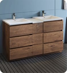 "Fresca FCB93-241224RW-D-I Lazzaro 60"" Rosewood Free Standing Double Sink Modern Bathroom Cabinet with Integrated Sinks"