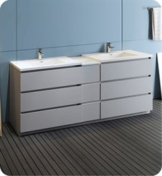 "Fresca FCB93-361236GR-D-I Lazzaro 84"" Gray Free Standing Double Sink Modern Bathroom Cabinet with Integrated Sinks"