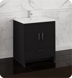 "Fresca FCB9430DGO-I Imperia 30"" Dark Gray Oak Free Standing Modern Bathroom Cabinet with Integrated Sink"