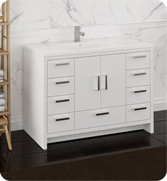 "Fresca FCB9448WH-I Imperia 48"" Glossy White Free Standing Modern Bathroom Cabinet with Integrated Sink"