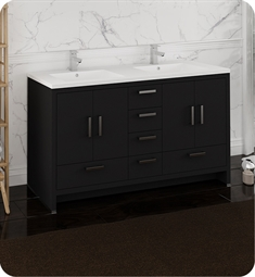 "Fresca FCB9460DGO-D-I Imperia 60"" Dark Gray Oak Free Standing Modern Bathroom Cabinet with Integrated Double Sink"