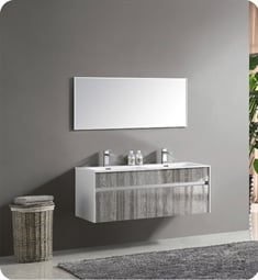 "Fresca FVN8512HA 48"" Wall Mount High Gloss Double Sink Modern Bathroom Vanity with Mirror and Faucets Ash Gray"