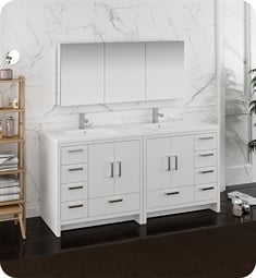 "Fresca FVN9472WH Imperia 72"" Glossy White Free Standing Double Sink Modern Bathroom Vanity with Medicine Cabinet"