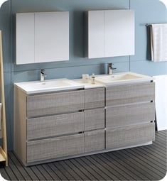 "Fresca FVN93-301230HA-D Lazzaro 72"" Ash Gray Free Standing Double Sink Modern Bathroom Vanity with Medicine Cabinet"