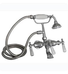 "Barclay 4020-PL-CP 10"" Three Handle Wall Mount Clawfoot Tub Filler and Handshower in Polished Chrome"