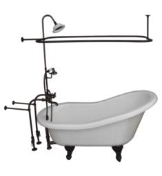 "Barclay TKATS60-WORB4 Estelle 60"" Acrylic Freestanding Clawfoot Soaker Bathtub in White with Metal Cross Rectangular Shower Unit in Oil Rubbed Bronze"
