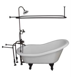 "Barclay TKATS67-WORB3 Imogene 67"" Acrylic Freestanding Clawfoot Soaker Bathtub in White with Porcelain Lever Rectangular Shower Unit in Oil Rubbed Bronze"