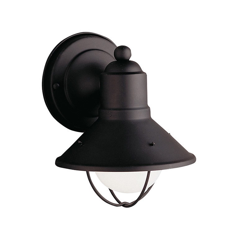 Kichler 9021BK Seaside Collection 1 Light Outdoor Wall Sconce in Black (Painted)