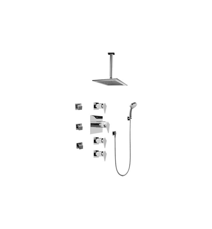 Graff GC1.231A-LM23S-PC Stealth Contemporary Square Thermostatic Set with Body Sprays and Handshower With Finish: Polished Chrome And Rough / Valve: Trim + Rough