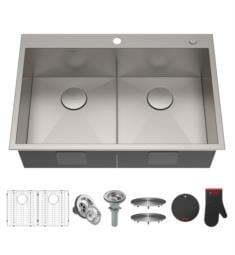 "Kraus KP1TD33S-2 Pax 33"" Double Bowl Drop-In Stainless Steel Rectangular Kitchen Sink"