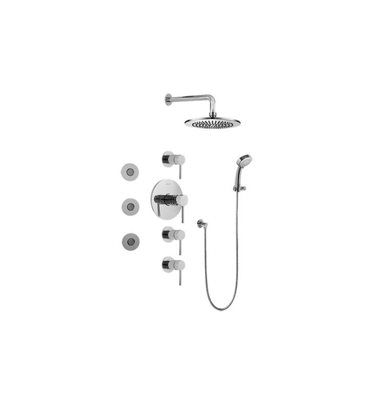 Graff GB1.132A-LM37S M.E./M.E. 25 Contemporary Square Thermostatic Set with Body Sprays and Handshower