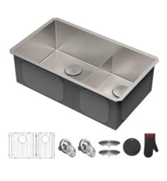 "Kraus KHU103-32 Standart Pro 32"" Double Bowl Undermount Stainless Steel Rectangular Kitchen Sink in Satin"