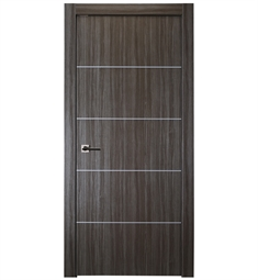 Belldinni PALL4H-GO Palladio 4H Interior Door in Gray Oak Finish with Aluminum Moldings