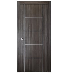 Belldinni PALL4H2U-GO Palladio 4H2U Interior Door in Gray Oak Finish with Aluminum Moldings