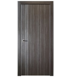 Belldinni UNICA208-GO Unica 208 Interior Door in Gray Oak Finish with Aluminum Moldings and Aluminum Edges