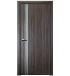 Belldinni UNICA208G-GO Unica 208 Vetro Interior Door in Gray Oak Finish with Aluminum Edges and Frosted Glass