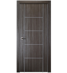 Belldinni UNICA4H2U-GO Unica 4H2U Interior Door in Gray Oak Finish with Aluminum Moldings and Aluminum Edges