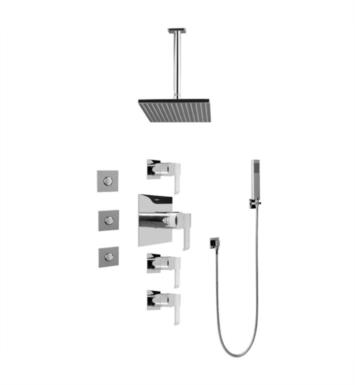 Graff GC1.121A-LM38S-SN Qubic Contemporary Square Thermostatic Set with Body Sprays and Handshower With Finish: Steelnox (Satin Nickel) And Rough / Valve: Trim + Rough