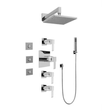 Graff GC1.122A-LM38S-PC Qubic Contemporary Square Thermostatic Set with Body Sprays and Handshower With Finish: Polished Chrome And Rough / Valve: Trim + Rough