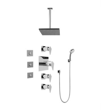Graff GC1.131A-LM23S-SN Stealth Contemporary Square Thermostatic Set with Body Sprays and Handshower With Finish: Steelnox (Satin Nickel) And Rough / Valve: Trim + Rough
