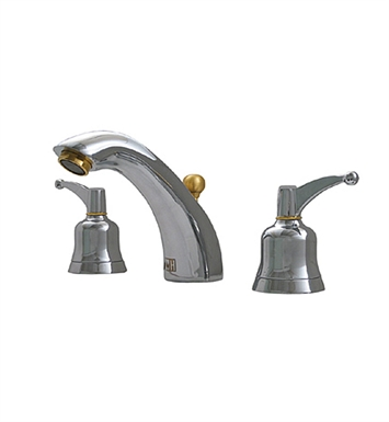 Whitehaus 614.131WS-C Blairhaus Adams Widespread Lavatory Faucet with Smooth Arcing Spout, Bell-shaped Lever Handles, Smooth Escutcheons and Pop-up Waste With Finish: Polished Chrome