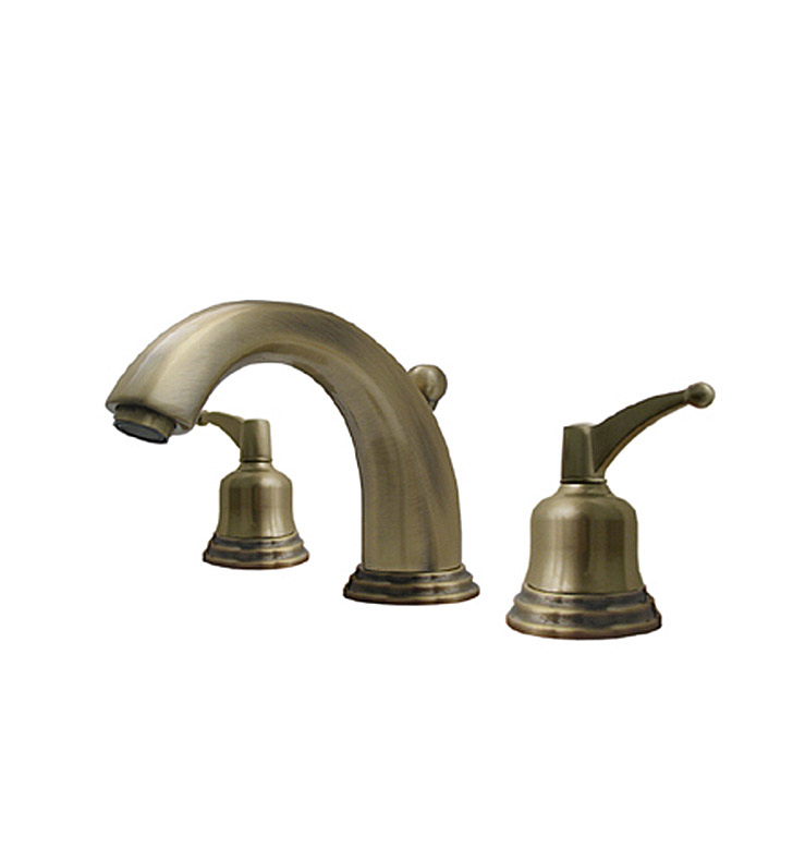 Whitehaus 514.131WS-BN Blairhaus Adams Widespread Lavatory Faucet with Beveled Escutcheons and Pop-up Waste With Finish: Brushed Nickel