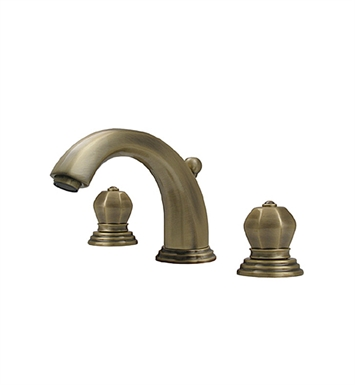 Whitehaus 514.121WS-ACO Blairhaus Washington Widespread Lavatory Faucet with Beveled Escutcheons and Pop-up Waste With Finish: Antique Copper