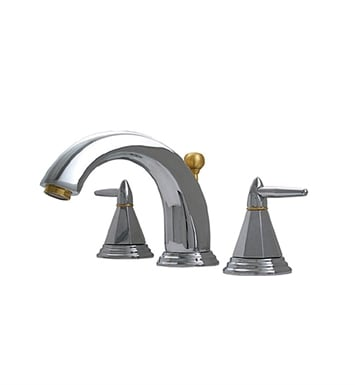 Whitehaus 514.151WS-C Blairhaus Monroe Widespread Lavatory Faucet with Smooth lined Arcing Spout, Octagon-shaped Lever Handles, Beveled Escutcheons and Pop-up Waste With Finish: Polished Chrome