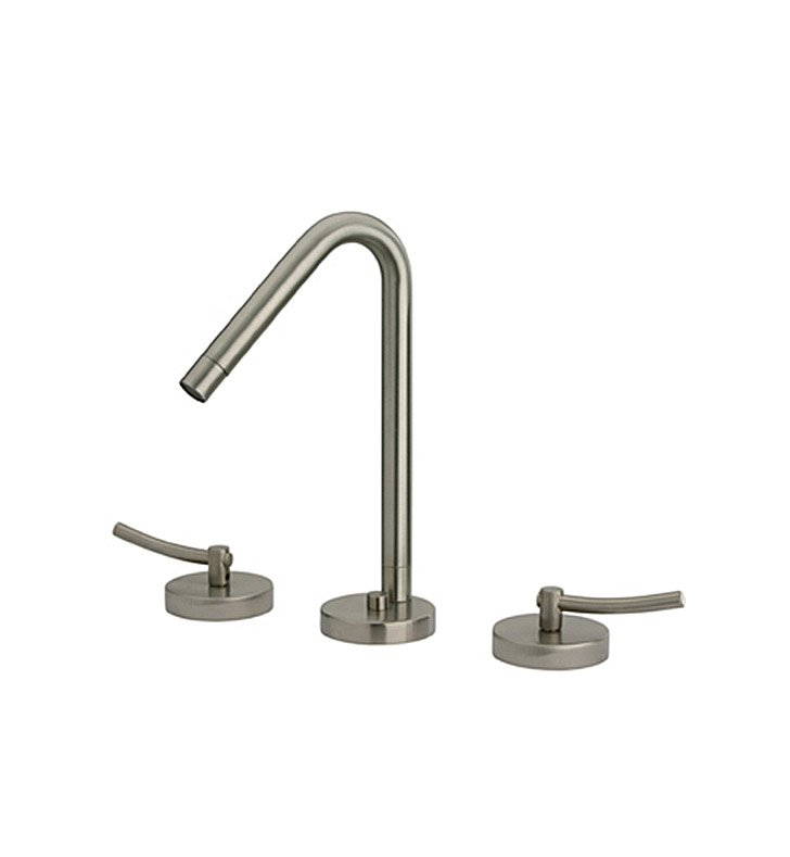 Whitehaus WH81214-BN Metrohaus Widespread Lavatory Faucet with Swivel Spout, Lever Handles and Pop-up Waste With Finish: Brushed Nickel