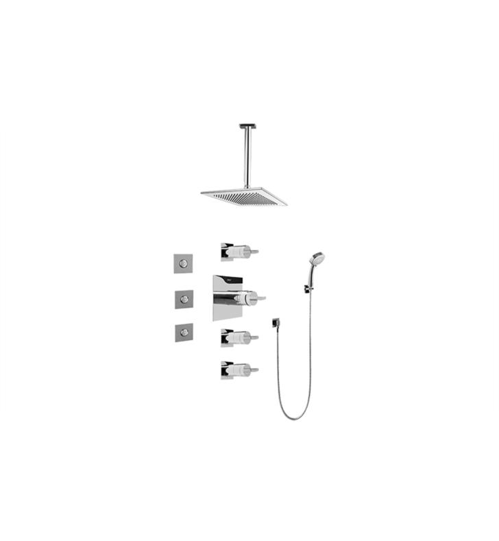 Graff GC1.131A-C14S-SN Contemporary Square Thermostatic Set with Body Sprays and Handshower With Finish: Steelnox (Satin Nickel) And Rough / Valve: Trim + Rough