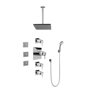 Graff GC1.131A-LM39S-SN Qubic Tre Contemporary Square Thermostatic Set with Body Sprays and Handshower With Finish: Steelnox (Satin Nickel) And Rough / Valve: Trim + Rough