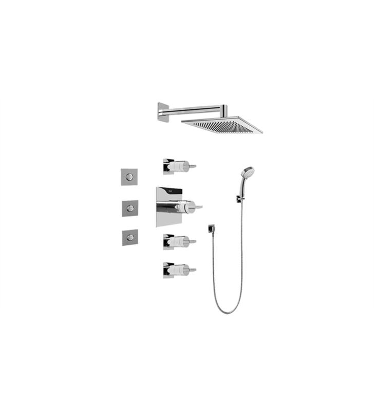 Graff GC1.132A-C14S Contemporary Square Thermostatic Set with Body Sprays and Handshower