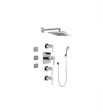 Graff GC1.132A-LM38S Qubic Contemporary Square Thermostatic Set with Body Sprays and Handshower