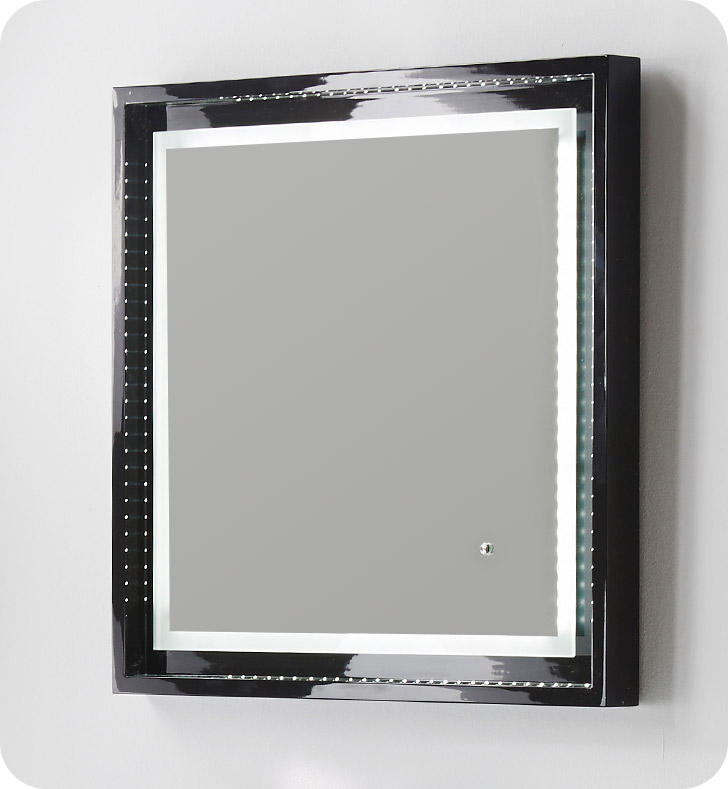 "Fresca Platinum FPMR7624BL Wave 24"" Black Gloss Sandblasting Mirror w/ LED Lighting, Touch Switch and Fog-Free System"