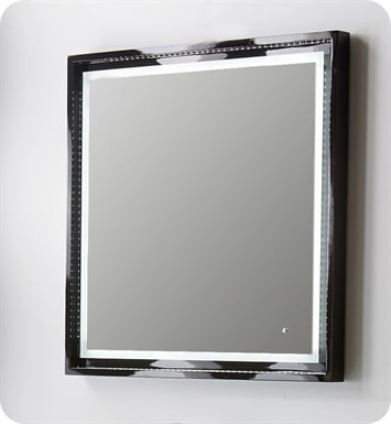 "Fresca Platinum FPMR7630BL Wave 32"" Black Gloss Sandblasting Mirror w/ LED Lighting, Touch Switch and Fog-Free System"