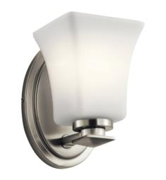 "Kichler 45896NI Clare 1 Light 5"" Wall Mount Satin Etched Cased Opal Incandescent Wall Sconce in Brushed Nickel"