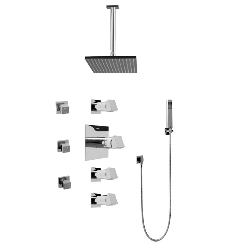 Graff GC1.221A-C10S Contemporary Square Thermostatic Set with Body Sprays and Handshower