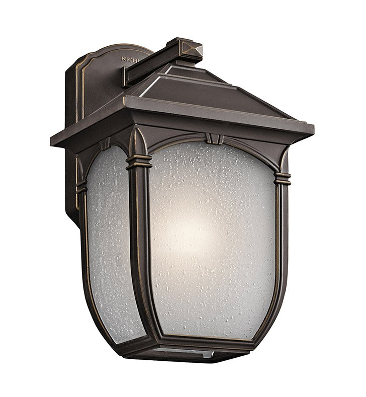 Kichler 49429RZ One Light Outdoor Wall Sconce in Rubbed Bronze